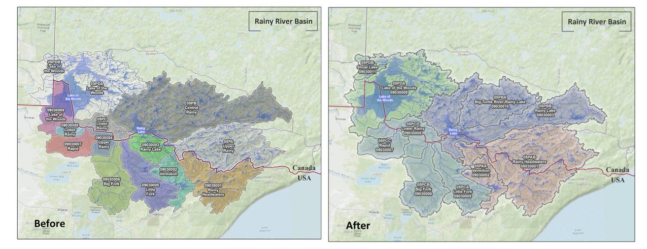 Rainy River Drainage Basins Before and After