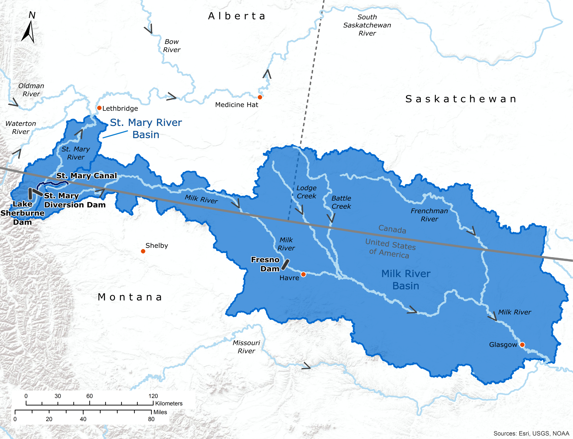 Map of the St. Mary and Milk River watersheds