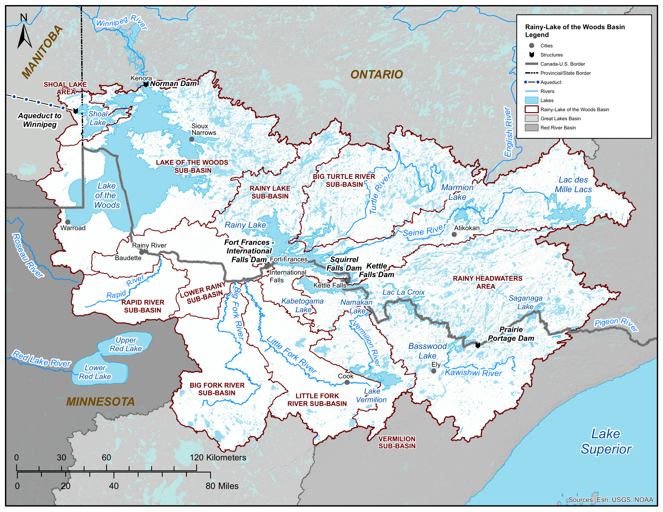Rainy River-Lake of the Woods Basin Map