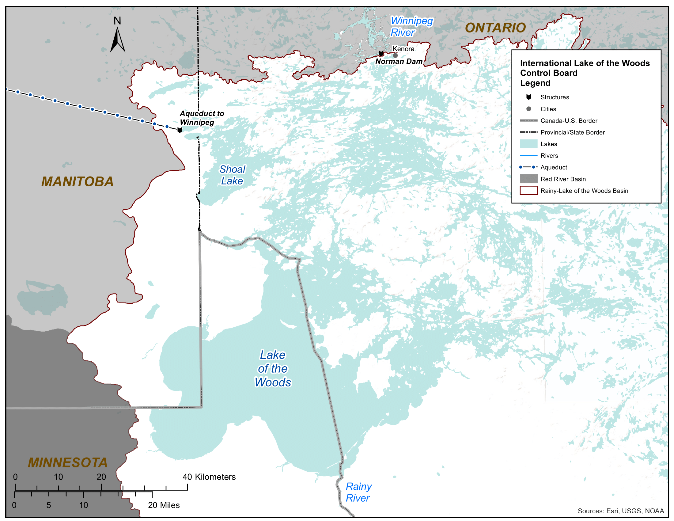 Map of Lake of the Woods and Norman Dam