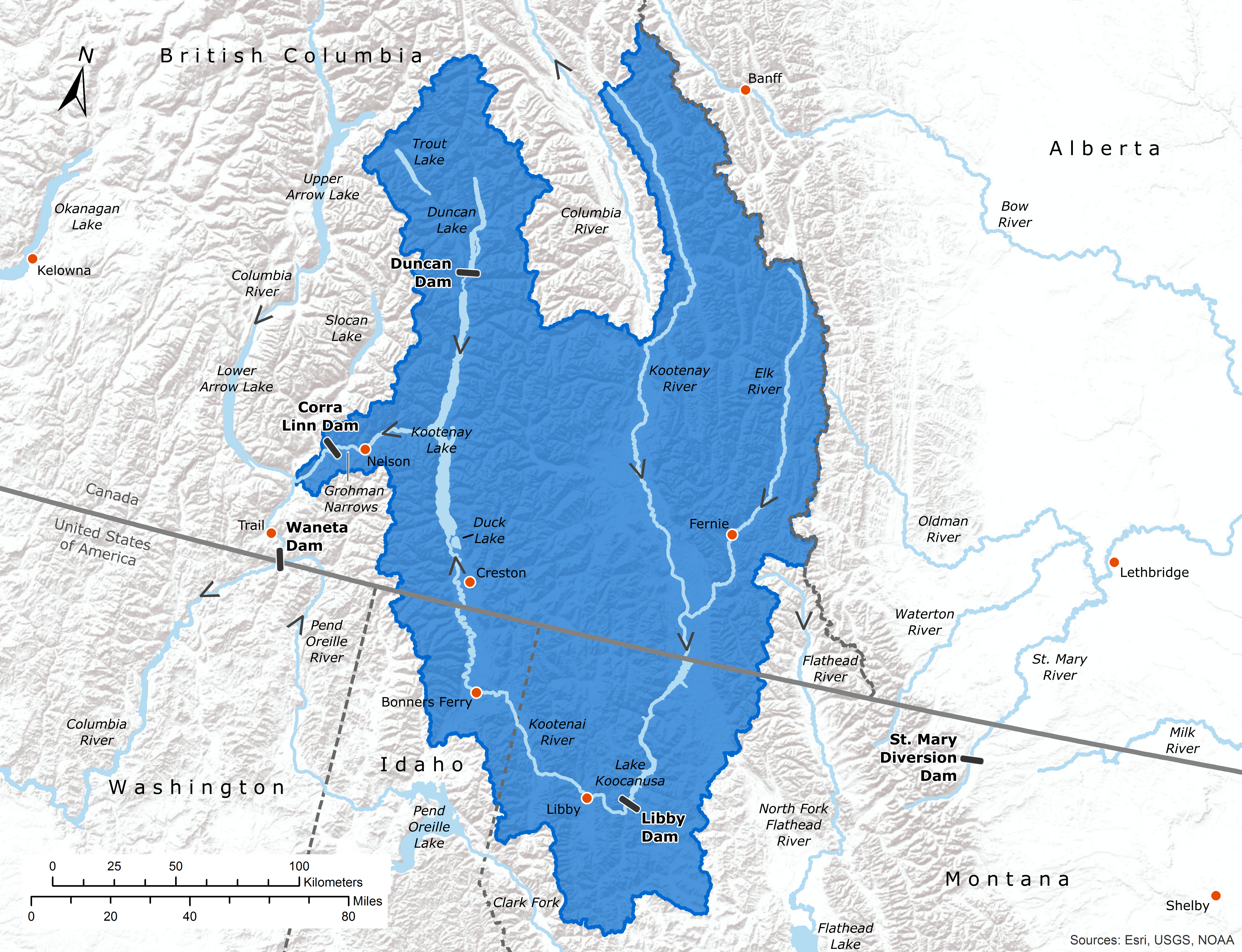 Map of the Kootenay River Basin