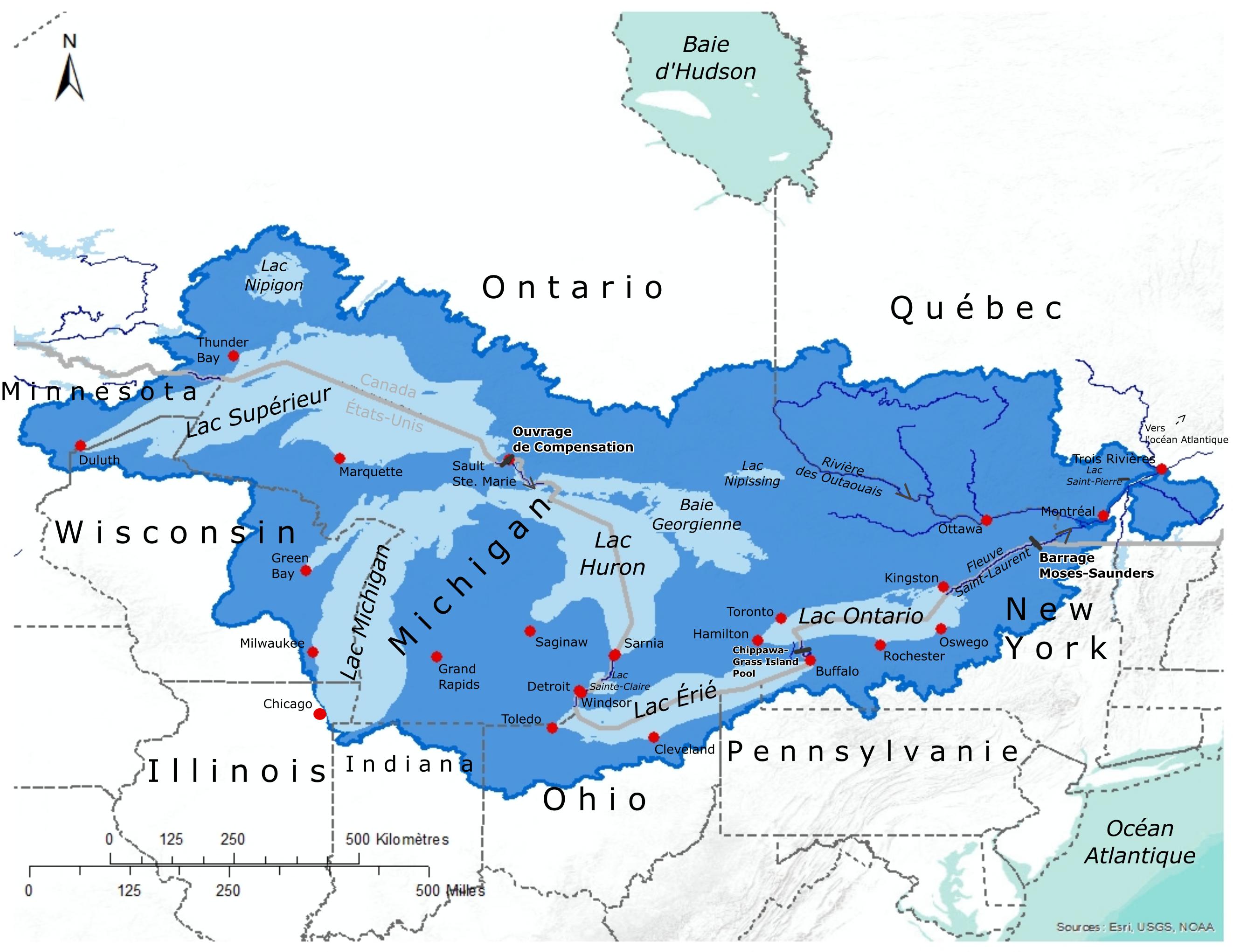 Carte de Bassin des Grands Lacs et fleuve Saint-Laurent