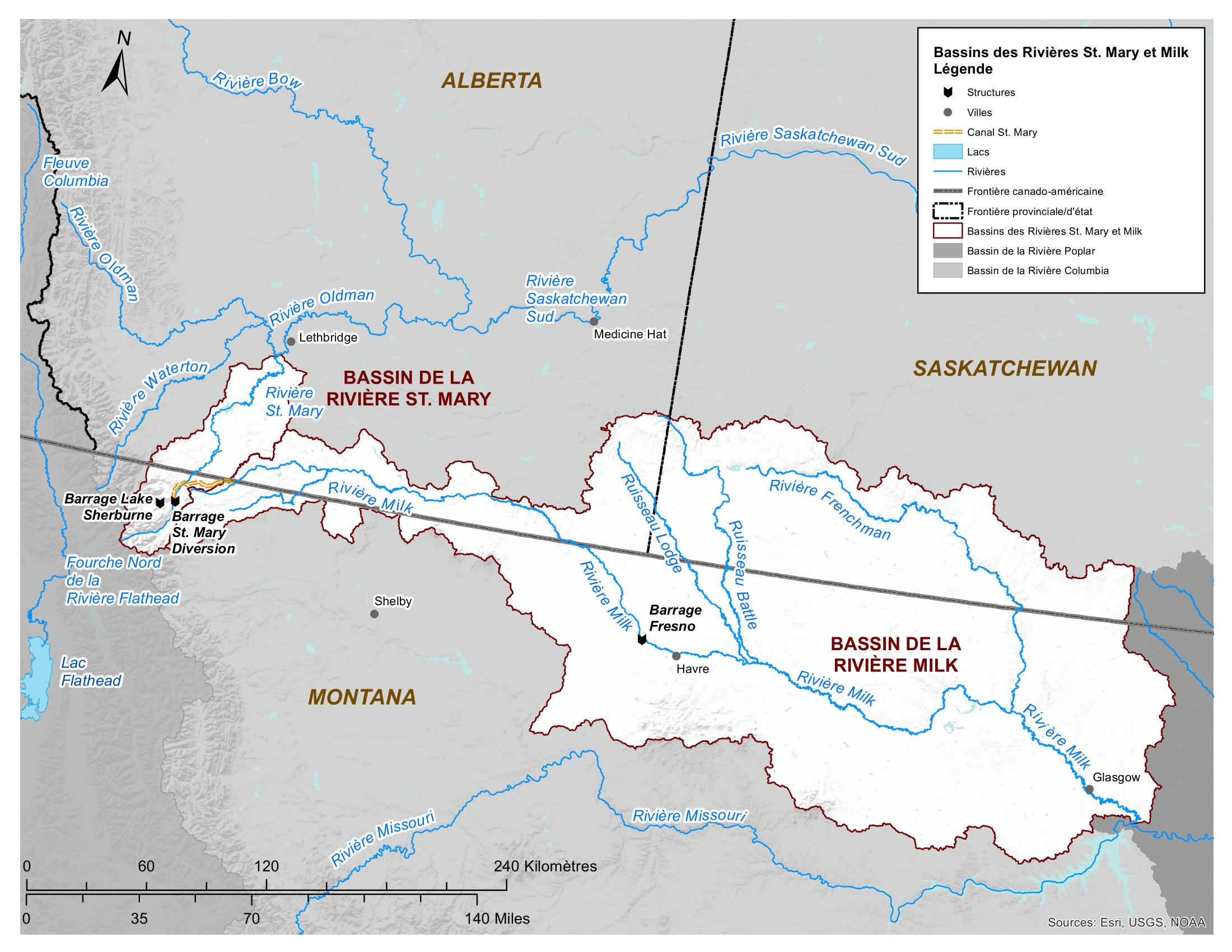 Carte - Bassin des rivières St. Mary et Milk