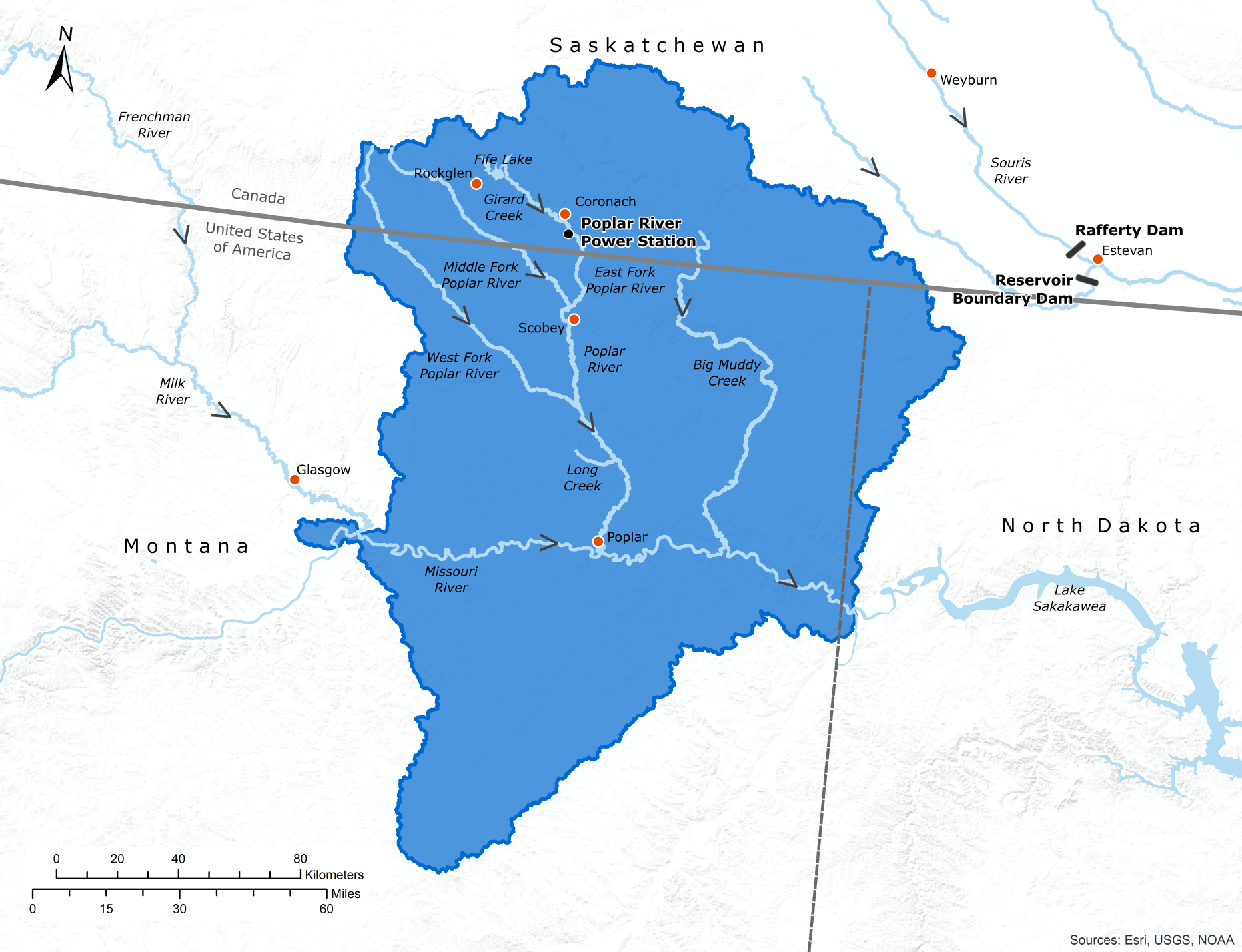 Map of the Poplar River watershed
