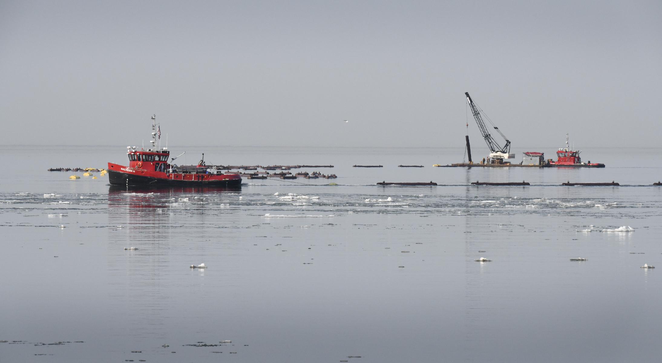 Lake Erie - Niagara River Ice Boom removal spring 2021.