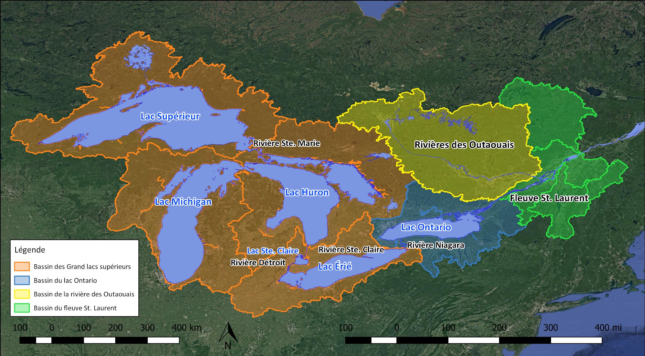Carte du bassin des Grands Lacs et du fleuve Saint-Laurent