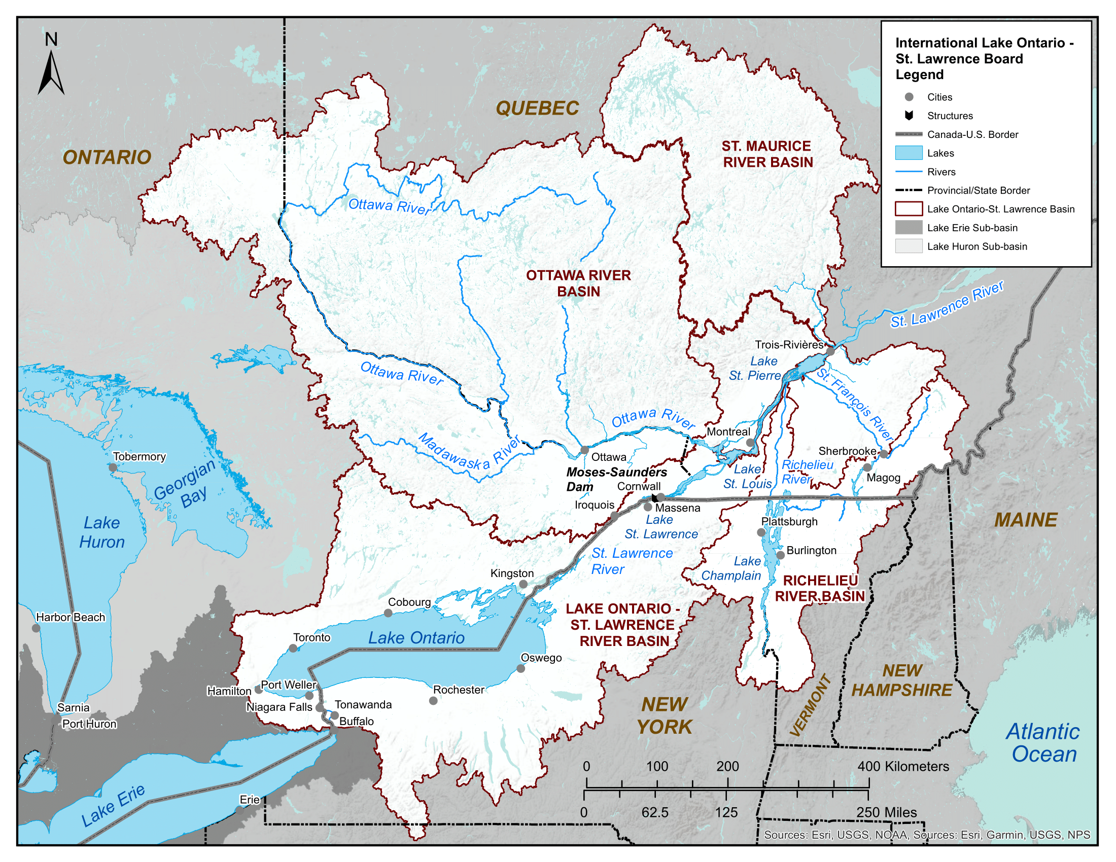 Map of Lake Ontario and St. Lawrence River