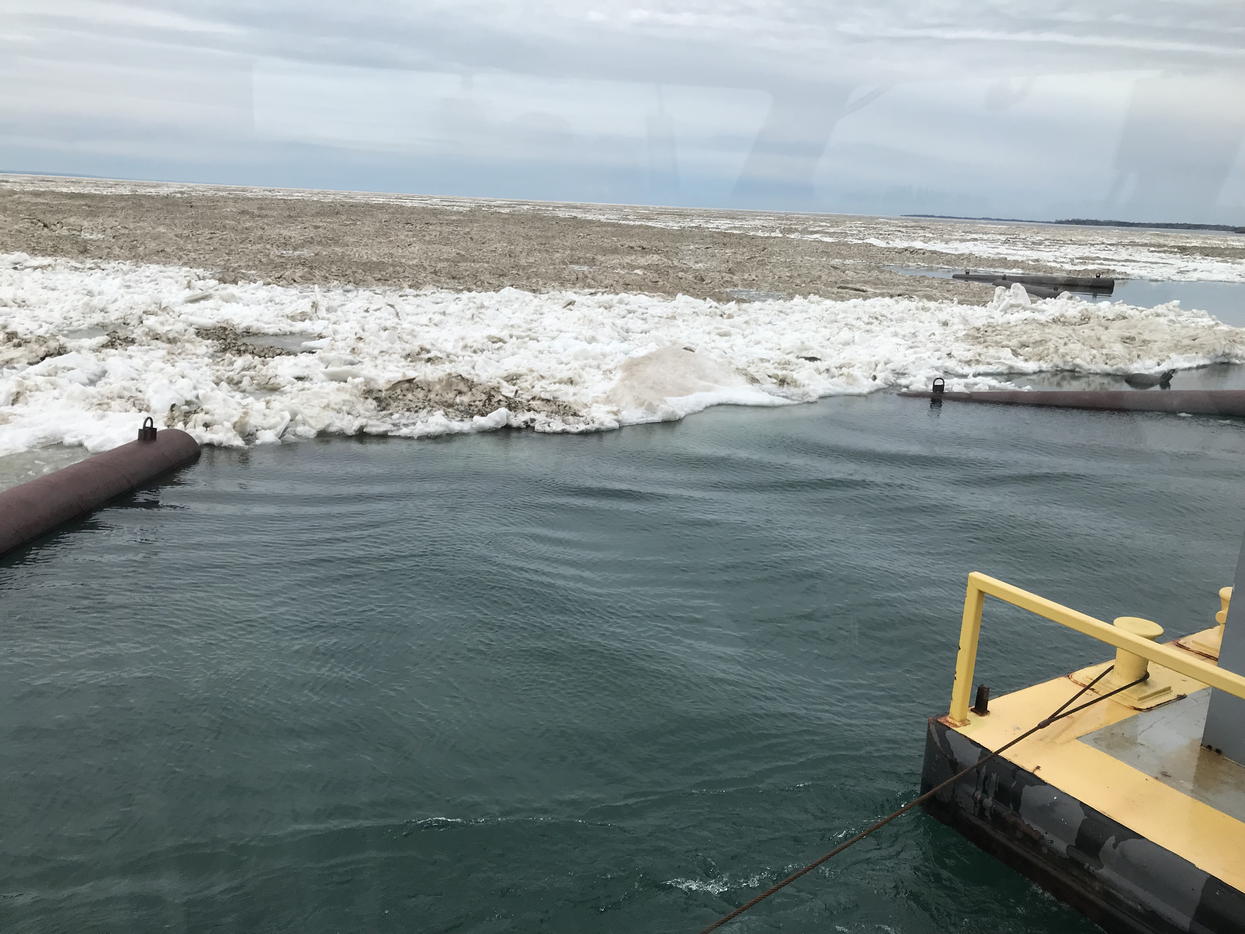 Dense Lake Erie ice encasing ice boom April 29, 2019 (Photo Credit: New York Power Authority)