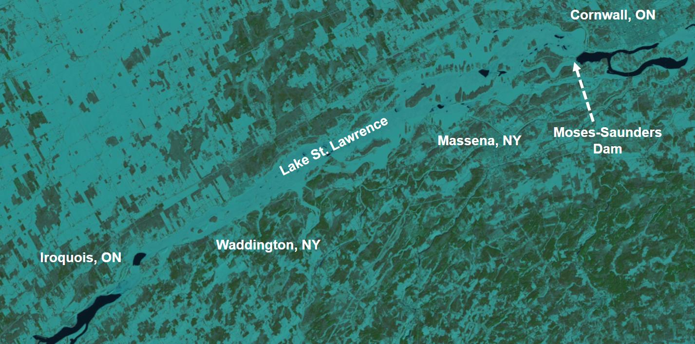 Lake St. Lawrence ice coverage, 2 February 2019 (satellite imagery:  USGS Landsat)