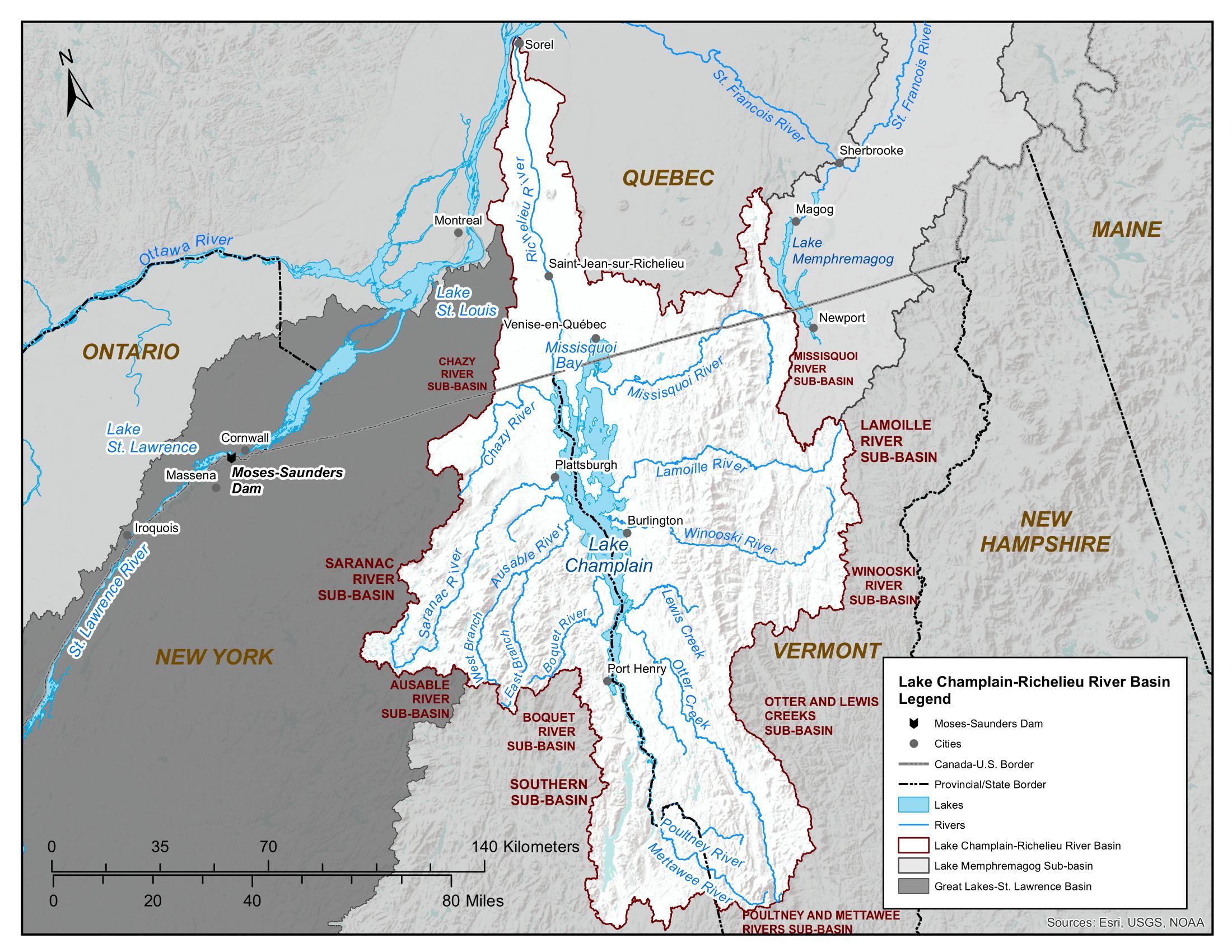 Lake Champlain and Richelieu River basin map