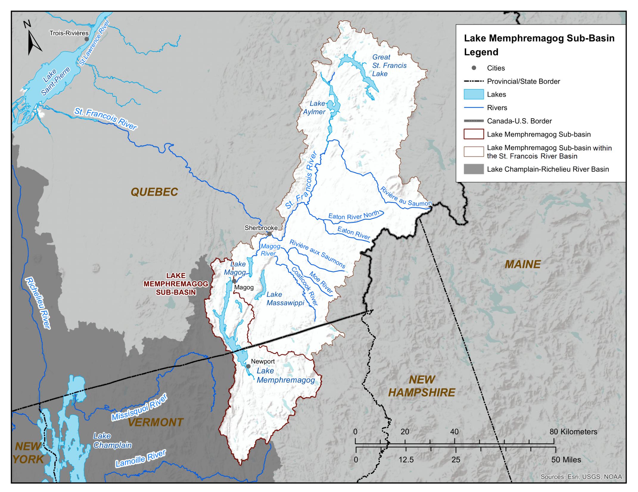 Map of Lake Memphremagog