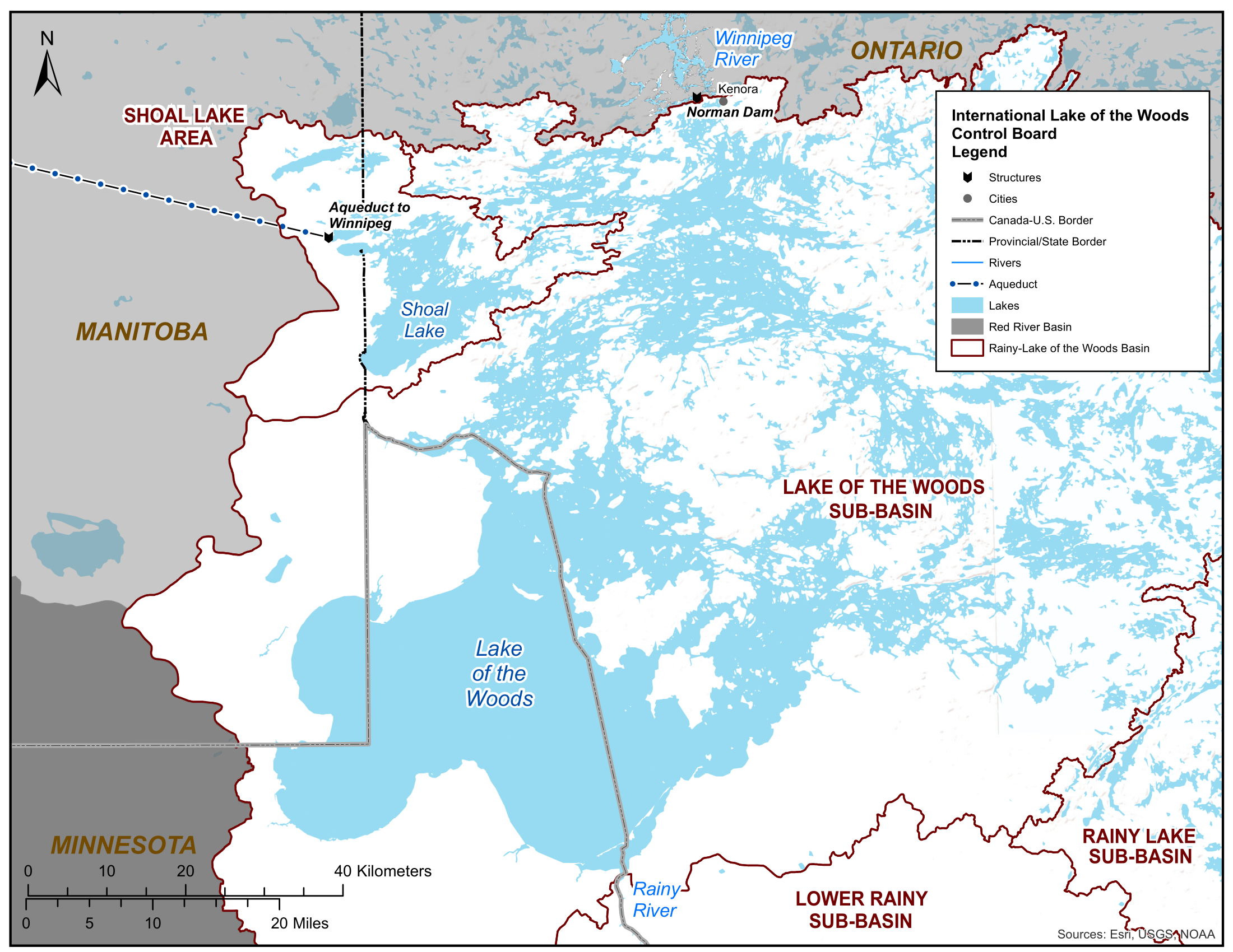 Lake of the Woods sub-basin and Norman Dam map