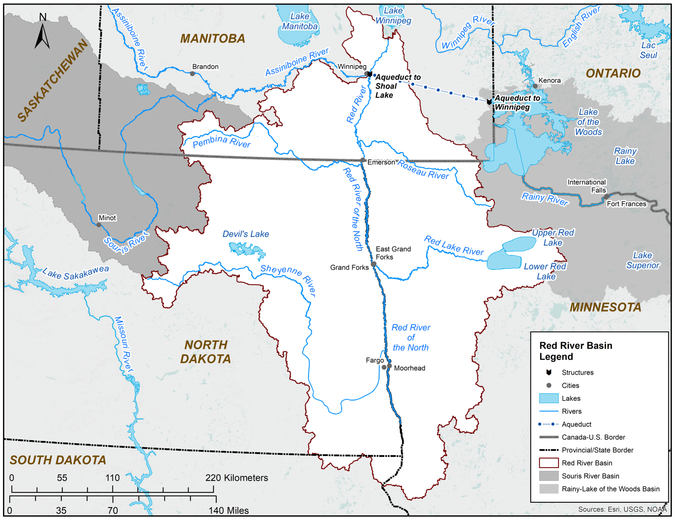 Map of Red River Basin - Credit: International Joint Commission