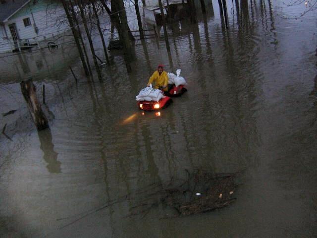 Motor Boat on the Street Richelieu Flood