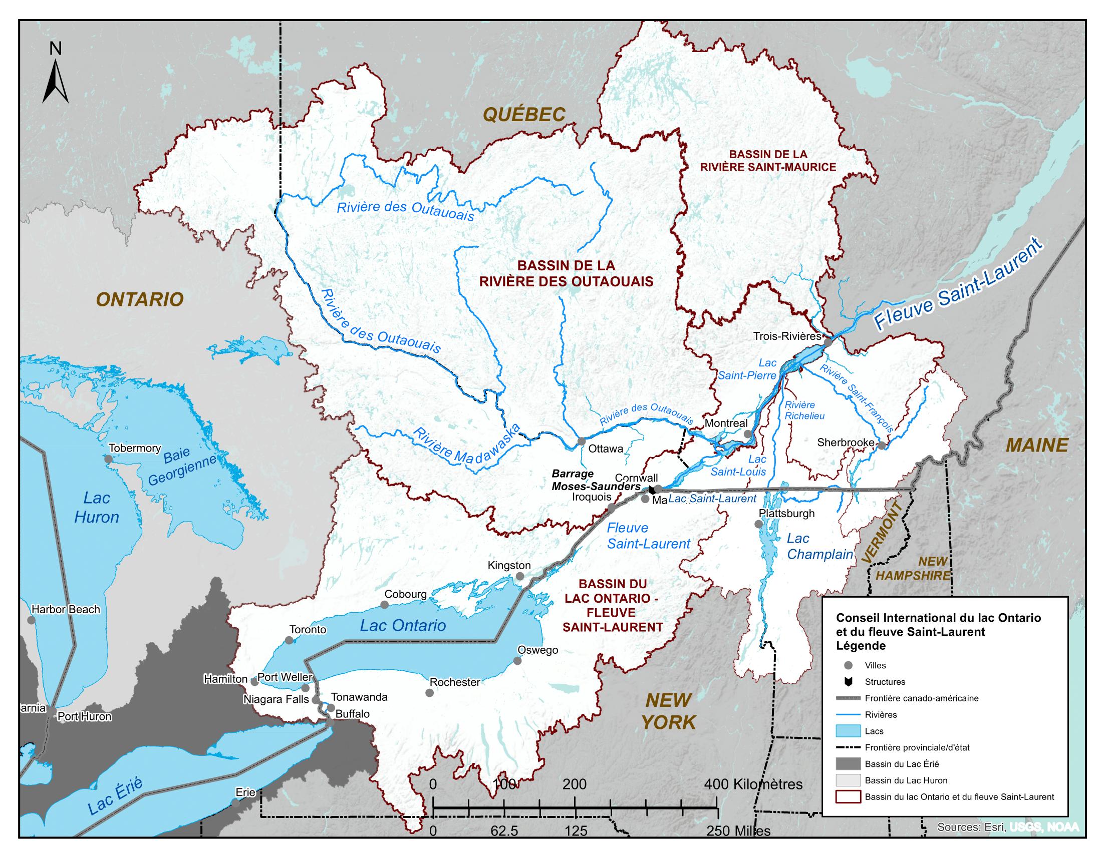 Carte du lac Ontario et du fleuve Saint-Laurent