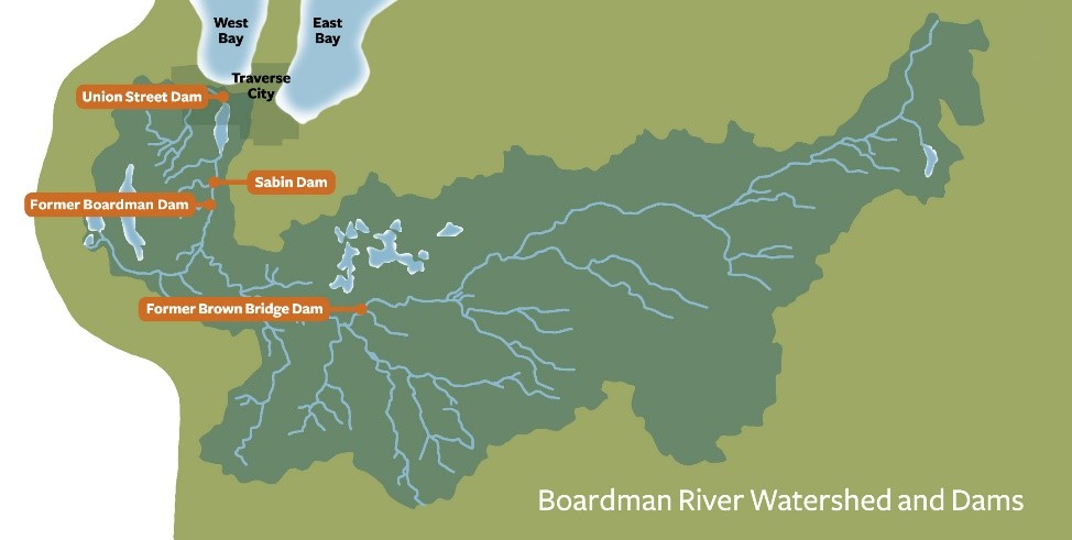 The Boardman River Dams Ecosystem Restoration Project will reconnect more than 160 miles of free-flowing, cold-water stream and restore hundreds of acres of wetland and upland habitat. Credit: www.theboardman.org