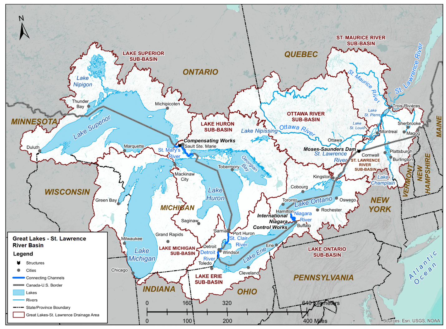 great lakes st lawrence river basin map