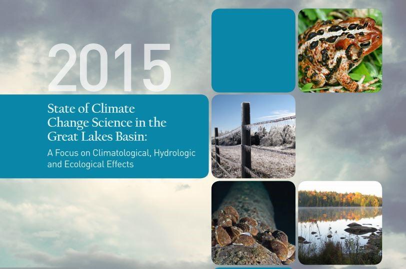 Page couverture du Rapport sur l'état de la science des changements climatiques dans le bassin des Grands Lacs de 2015.