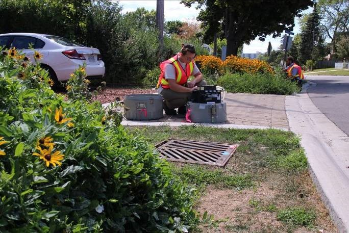 CVC staff monitoring roadside green infrastructure within a residential neighborhood. Green infrastructure helps recreate the natural water cycle in an highly urban environment. Credit: CVC