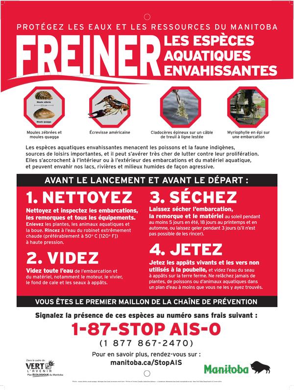 Exemple d'affiche de la campagne pour stopper la progression des moules et d'autres espèces envahissantes.