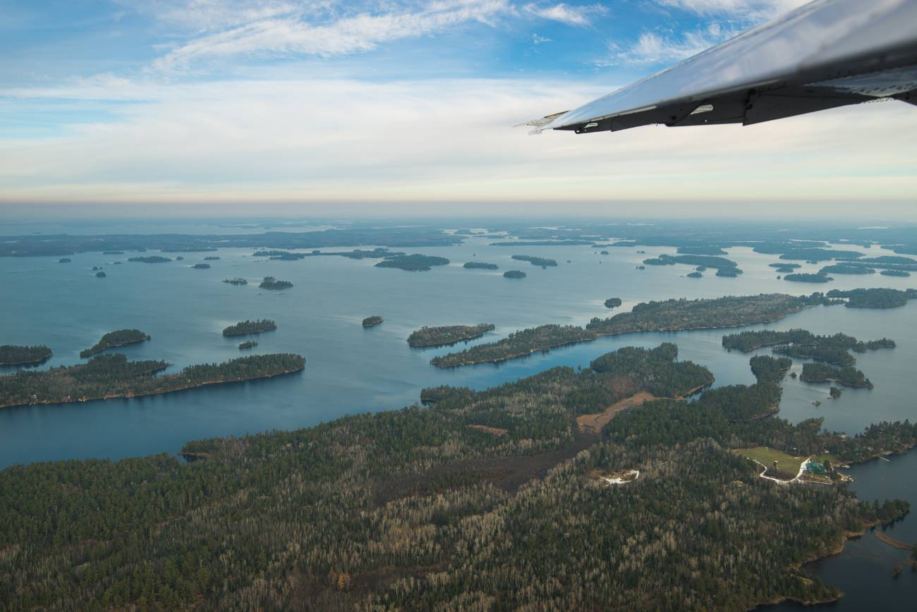 A view from the window of the survey plane. Credit: Project contractor Watershed Sciences Inc.