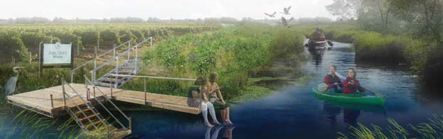 A mockup of a widened agricultural drainage canal, with wetland buffers and opportunities for public use and recreation. Credit: Sandra Cook and Justine Holzman