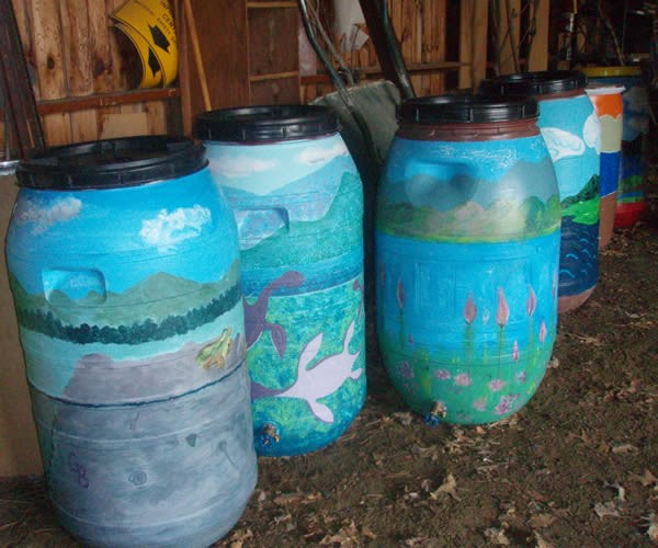 Rain barrels are a way to capture precipitation and keep it from becoming runoff. Credit: Winooski Natural Resources Conservation District