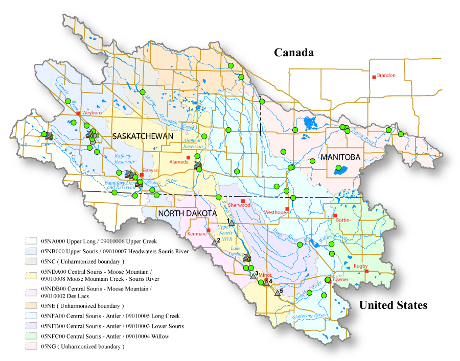 "This interactive map provides live links to streamflow gauges in the Souris Basin and a ""one-stop"" view of flow conditions in the newly harmonized international sub-basin units."