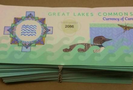 Colorful money bills called Great Lakes Commons