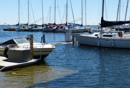 Image of boats and sailboats at a marina