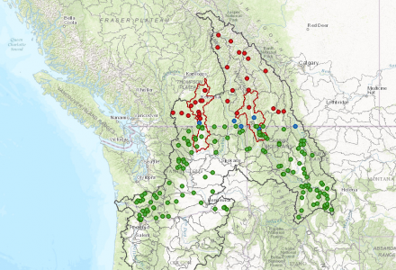 Water Matters - Map showing gauging station in the Columbia River Basin