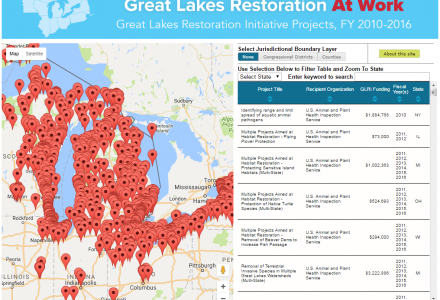 GLRI project map from Great Lakes Commission