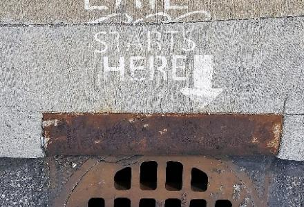 lake erie starts here storm drain stencil