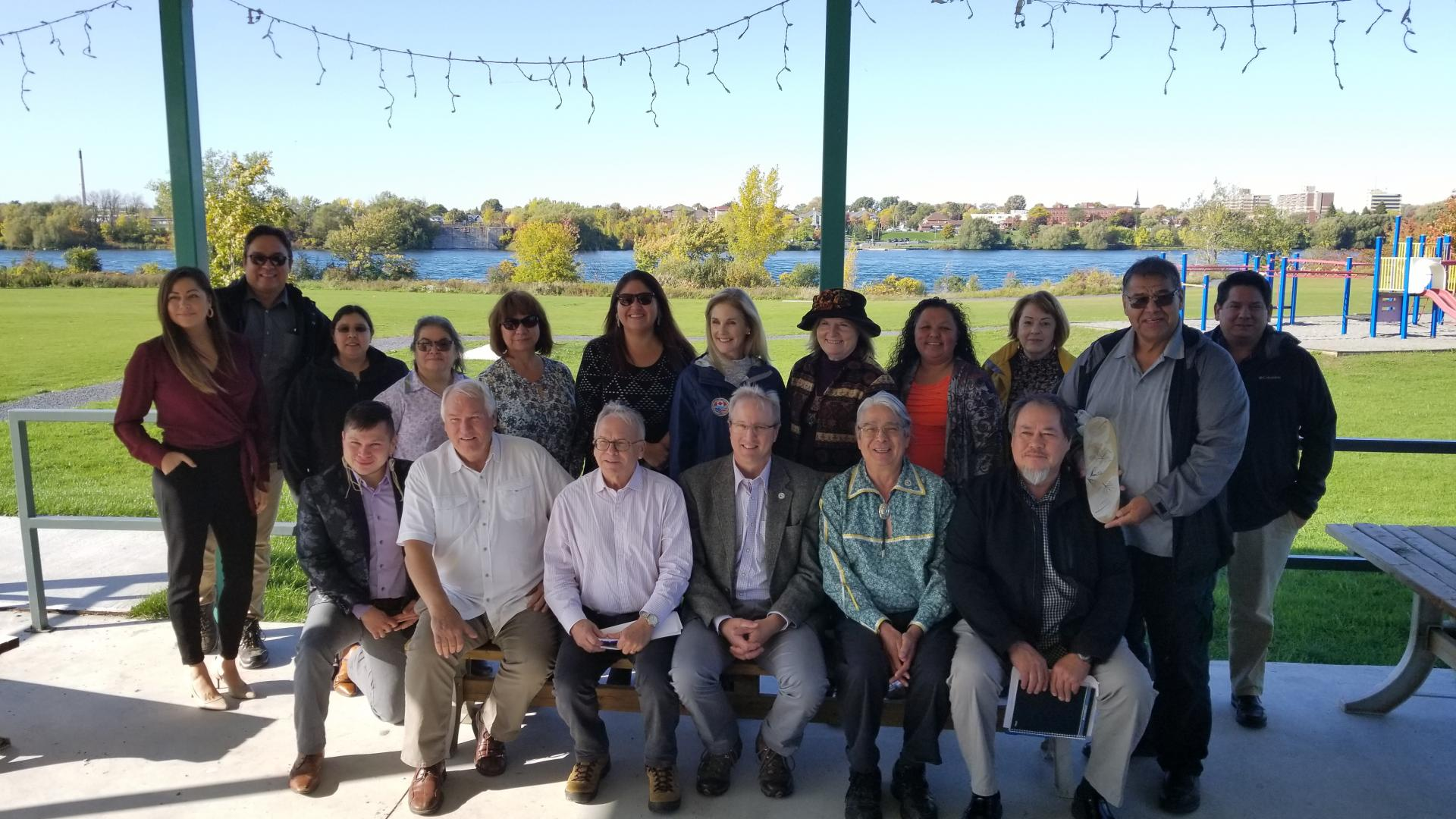 Photo of IJC Commissioners and representatives of the Mohawk Council of Akwesasne