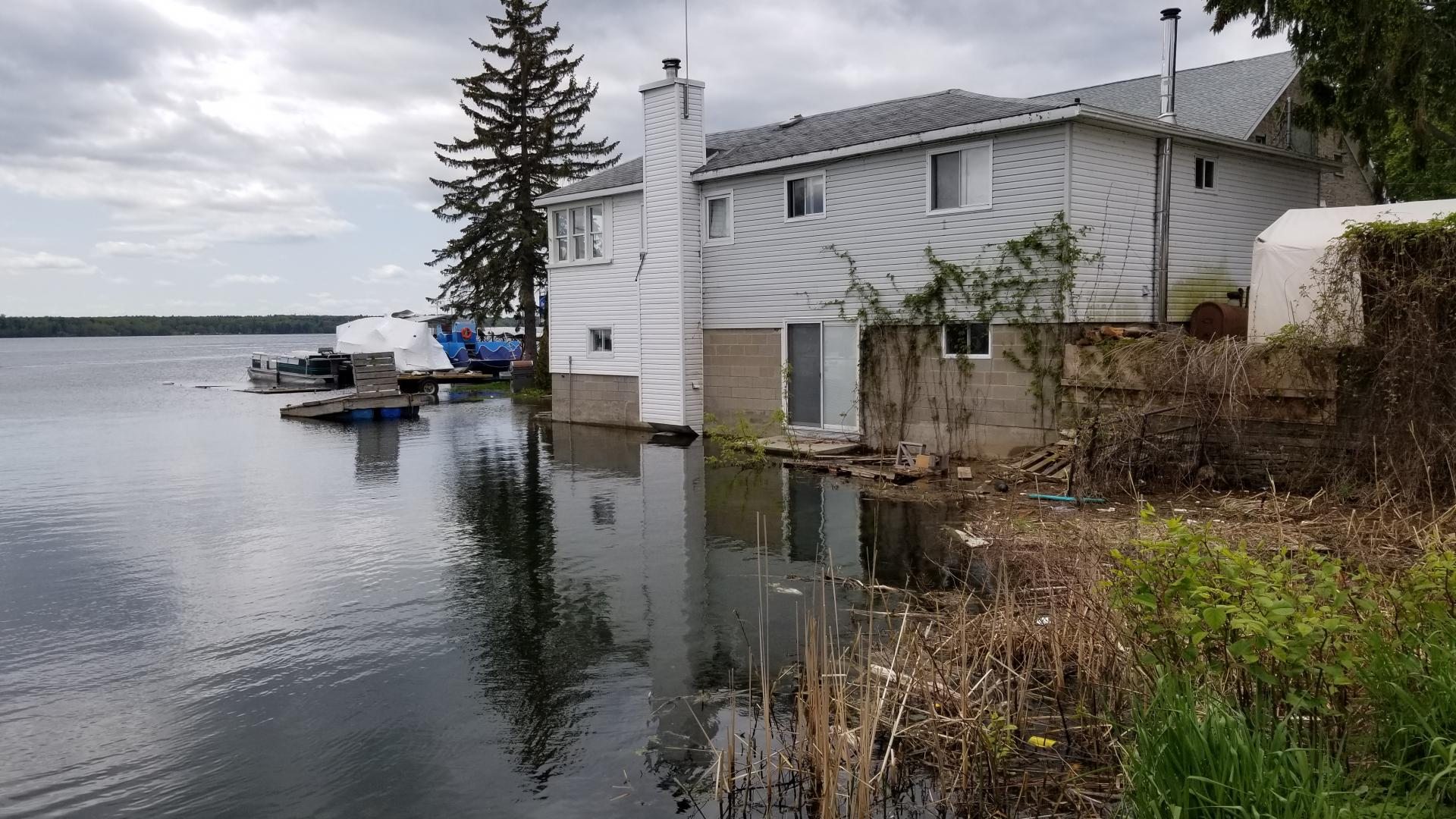 Home on shoreline of Upper St. Lawrence River in Brockville, Ontario, near the end of St  Paul Street. Photo date was May 27, 2019.