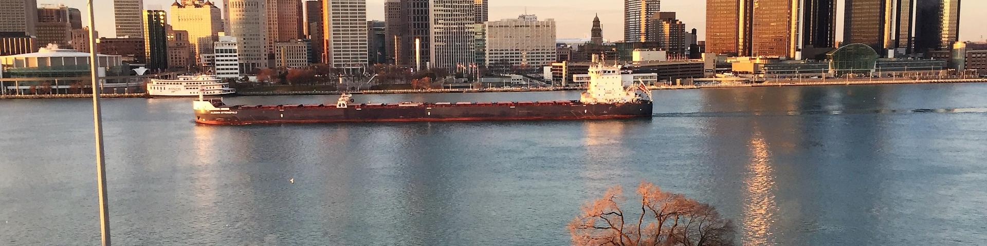 Detroit River with ship