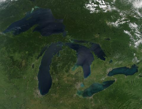 Aerial image of the Great Lakes taken from Space