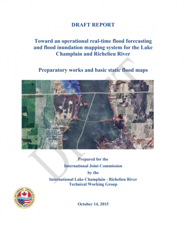 Cover of the draft report forecasting flooding in Lake Champlain-Richelieu River