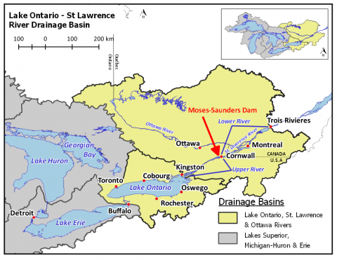 Figure 1. Map of Lake Ontario, Lake Erie, the St. Lawrence River, Ottawa River, and Moses-Saunders Dam