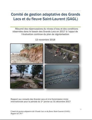 Résumé des répercussions du niveau d'eau et des conditions observées dans le bassin des Grands Lacs en 2017 à l'appui de l'évaluation continue du plan de régularisation