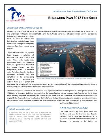 Image of the first page of the International Lake Superior Board of Control's Regulation Plan 2012 Fact Sheet