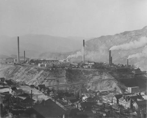 Picture of a smelter in Trail, British Columbia in 1928