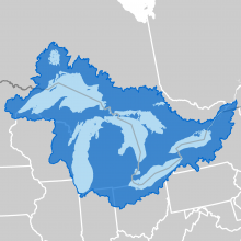 Icon map of the Great Lakes and St. Lawrence River