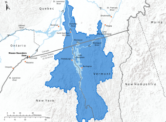 Map of the Lake Champlain and Richelieu River watershed