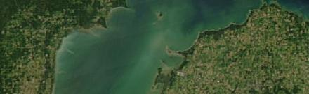 Saginaw Bay with a harmful algal bloom