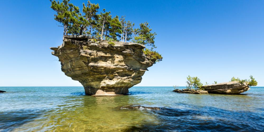 Turnip Rock on Lake Huron in Port Austin Michigan